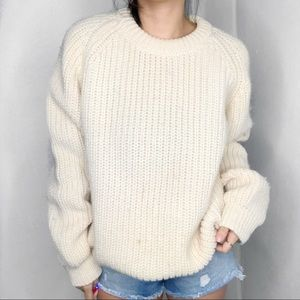 Vintage Chunky Knit Cream Oversized Sweater